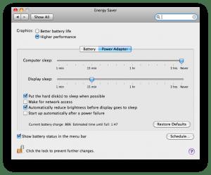OS X Energy Saver Settings Pane