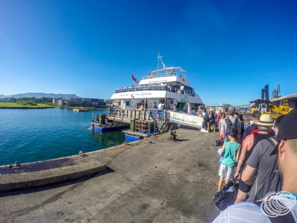 Boarding the South Sea Cruises Catamaran