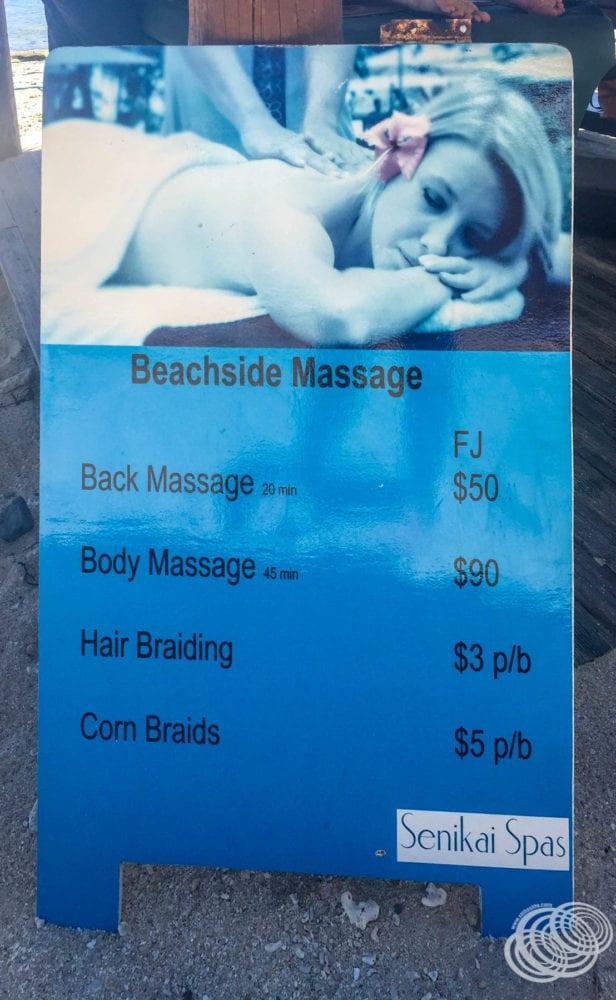 South Sea Island massage pricing