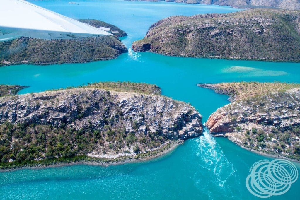Western Australia's stunning Horizontal Falls from the air.