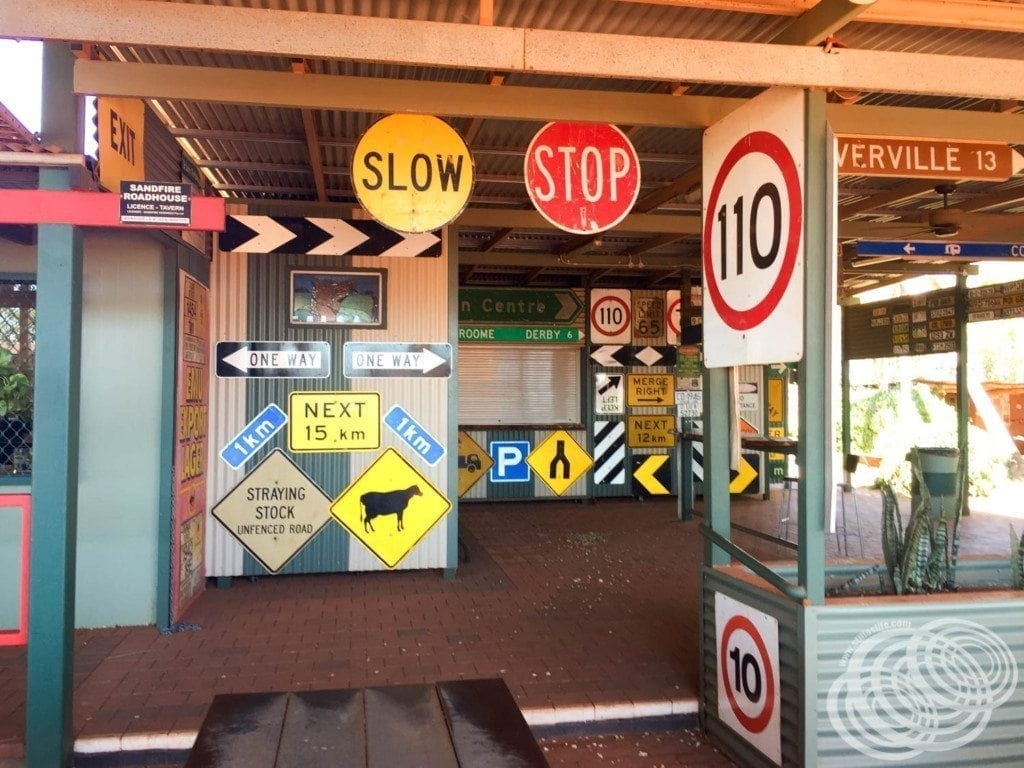 The Sandfire Roadhouse signs in Western Australia