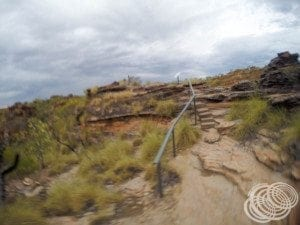 It's very blurry, but this photo gives you a bit of an idea of what the rough track is like at the top of the rocks in Mirima National Park