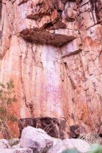 Ancient Aboriginal rock art between gorge 1 and 2 at Nitmiluk (Katherine) Gorge.