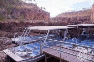 Smaller boats at the start of the second gorge at Nitmiluk (Katherine) Gorge