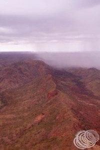 Rain coming over the hills at Warmun
