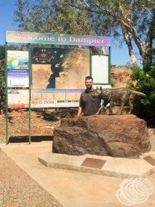 The Red Dog statue at the entrance to Dampier