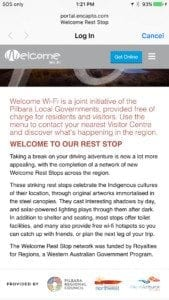 Free wifi at the Robe River Rest Stop
