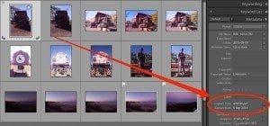Adobe Lightroom showing the photo capture time