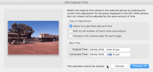 Adjust timestamps to a specified date and time by changing the time in the appropriate fields