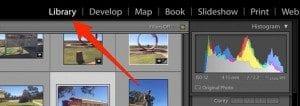 Adobe Lightroom library tab
