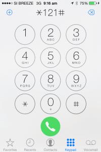 Dialing *121#