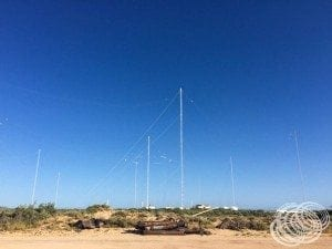 The Naval Communication Station towers from Bundegi Beach