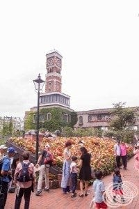 Looking across Shiroi Koibito Park to the clock tower from Tudor House