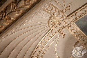 Some of the detailed cornicing on the ceiling