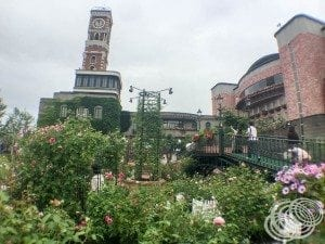 Looking across the rose garden to the Chocolate Lounge and clock tower