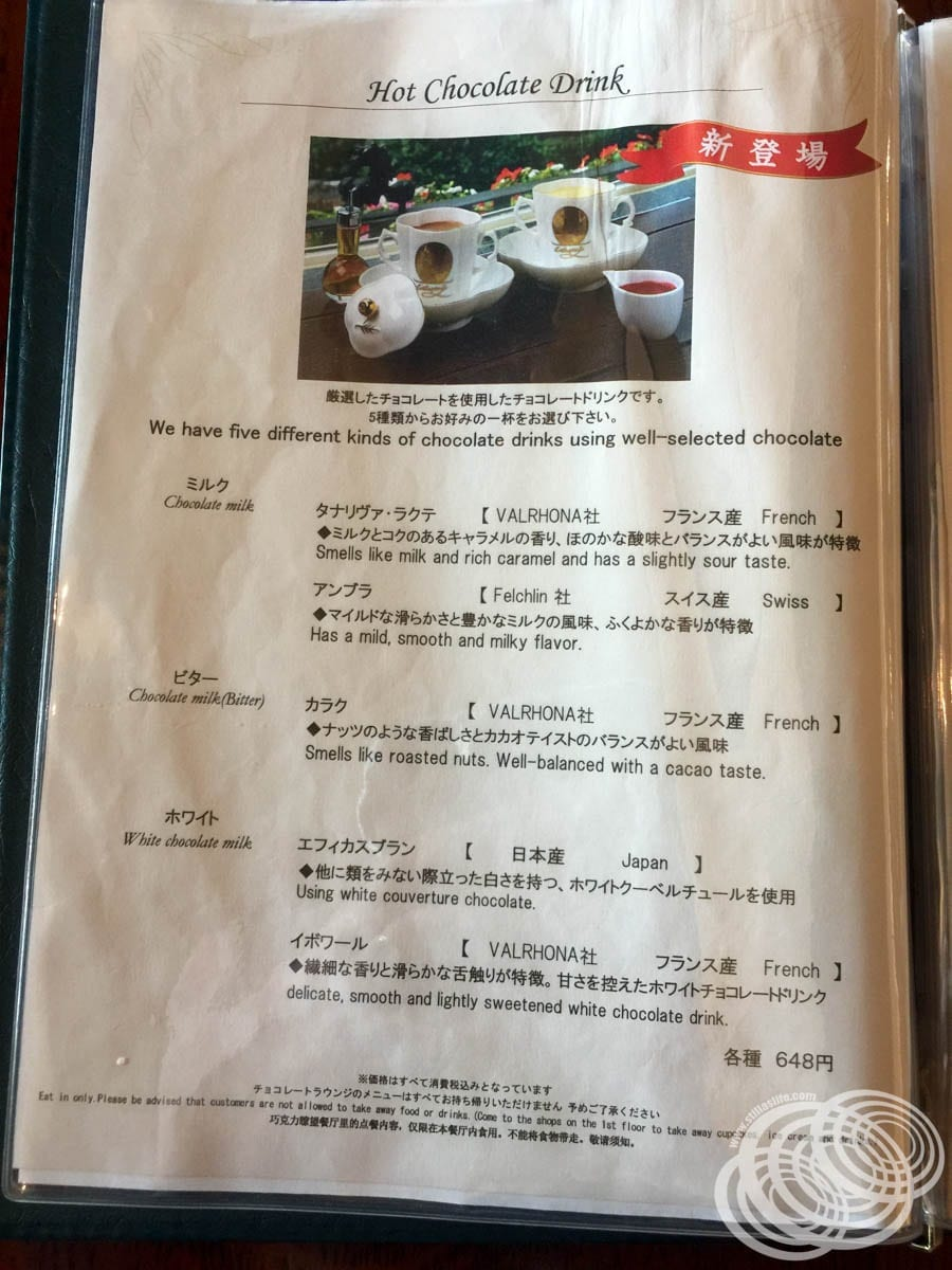 The hot chocolate menu