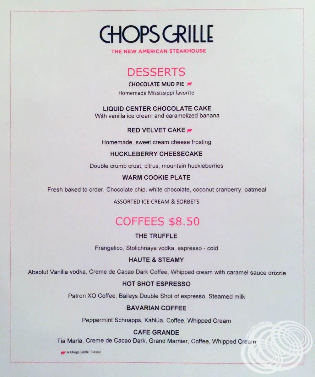 Chops Grille Dessert Menu