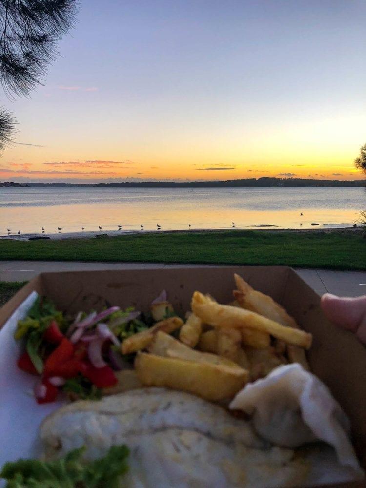 Fish, Chips and Sunset at Warners Bay