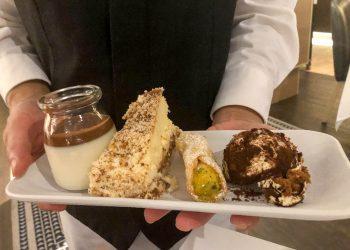 Angelo's Dessert Selection - Panna Cotta, Tiramisu, Pistachio Cannelloni , and a Custard Torte