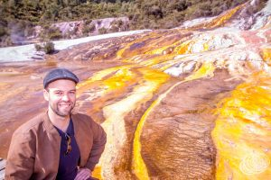 Matt at Orakei Korako Geothermal Park in New Zealand